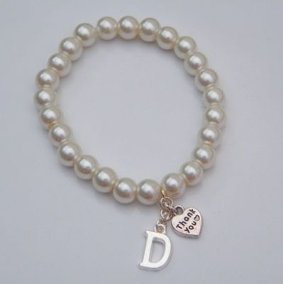 Thank You Initial Bracelet - Beaded Style